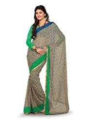 Fabdeal Indian Multicoloured Pure Georgette Printed Saree Sari Sarees-QIWSR456CAL