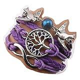 Handmade Infinity Tree for Life Love Birds Charm Friendship Gift Leather Bracelet