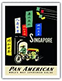 Singapore - Pan American Airlines (PAA) - Vintage Airline Travel Poster by A. Amspoker c.1950s - Fine Art Print - 20in x 26in