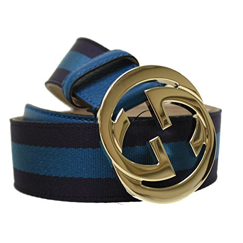 Gucci Interlocking GG Logo Blue Stripped Canvas and Leather Belt Size 32 Model 114876 H914G