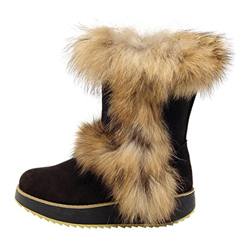 Milanao Thick Wedge Bottom Authentic Waterproof Female Fox Fur Snow Boots (8.5 B(M)Us,Black)