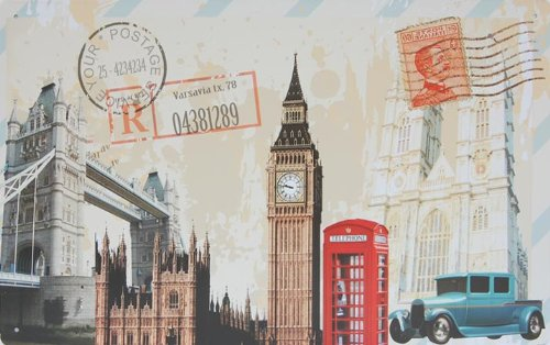 London Postcard Style, Metal Tin Sign, Dumb Oil