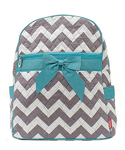 Chevron Stripe Quilted Backpack Handbag with Bow Accent Aqua Blue & Grey