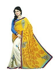 Faux Georgette Saree In Yellow Colour For Casual Wear - B00VCSYZ50