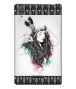 Fuson Beautiful Pattern Girl Back Case Cover for SONY XPERIA T3 - D3719