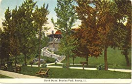 1920s Vintage Postcard Band Stand in Bradley Park Peoria Illinois