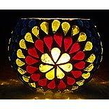 Elegant Vintage Mosaic Vase Decorative Round Glass Candle Holder