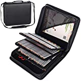 Shulaner 180 Slots PU Leather Colored Pencil Case Organizer Large Capacity Carrying Bag for Prismacolor Watercolor Pencils, Crayola Colored Pencils, Marco Pens, Gel Pens (Black, 180) (Color: Black, Tamaño: 180)