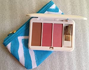 Estee Lauder Pure Color Blush (3) Bronze Goddess Soft Matter Bronzer- 01, Pink Kiss Satin-02, Pink Lngenue Shimmer-05. .08 Oz / 2.5g (Each) with Cosmetic Bag