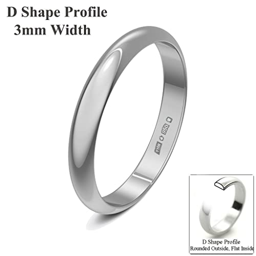 Xzara Jewellery - Palladium 950 3mm D Shape Hallmarked Ladies/Gents 1.7 Grams Wedding Ring Band