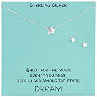 Sterling Silver Star Necklace and Earrings Jewelry Set, 18″