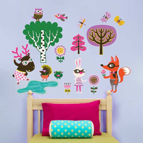 Oopsy Daisy Peel and Place Funky Woodland Creatures Girl by Helen Dardik, 54 by 60-Inch