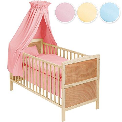 TecTake-Babybett-Komplettset-mit-Himmel-3in1-diverse-Farben-Pink-Nr-400918