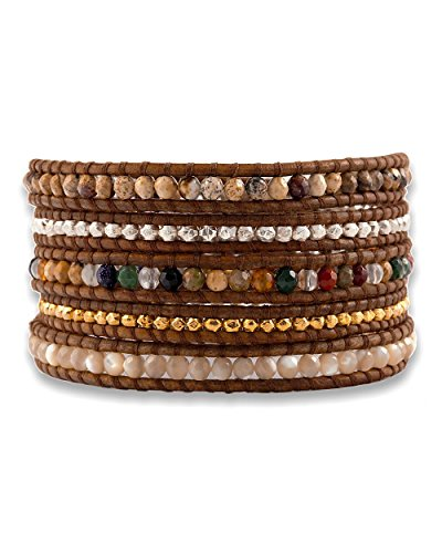 Chan Luu Chan Luu Multi Mix Wrap Bracelet on Natural Brown Leather