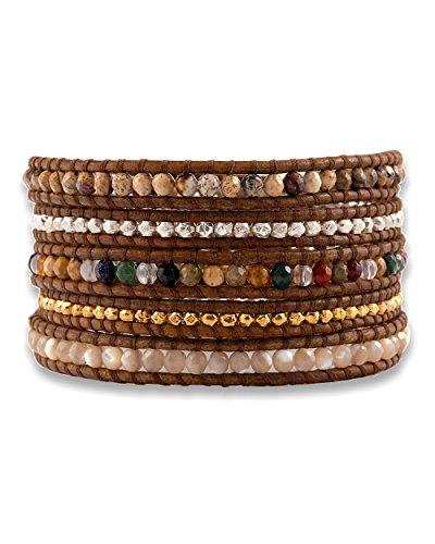 Chan LuuChan Luu Multi Mix Wrap Bracelet on Natural Brown Leather