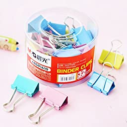 M&G Office Binder Clip,Assorted Colors,32mm,24 Clips Per Tub.