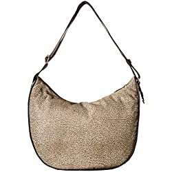 Borsa a tracolla Borbonese Luna Bag medium in Jet op naturale