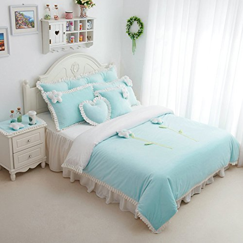 Korean Bed Skirt Denim Minimalist Style Coral Velvet Princess Flannel Bedding Set front-976484