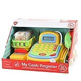 Playgo 3215 - Caja con cinta transportadora manual, calculadora electr�nica, tarjeta de cr�dito y un caj�n con cerradura con el dinero, incluida la cesta de la compra con accesorios
