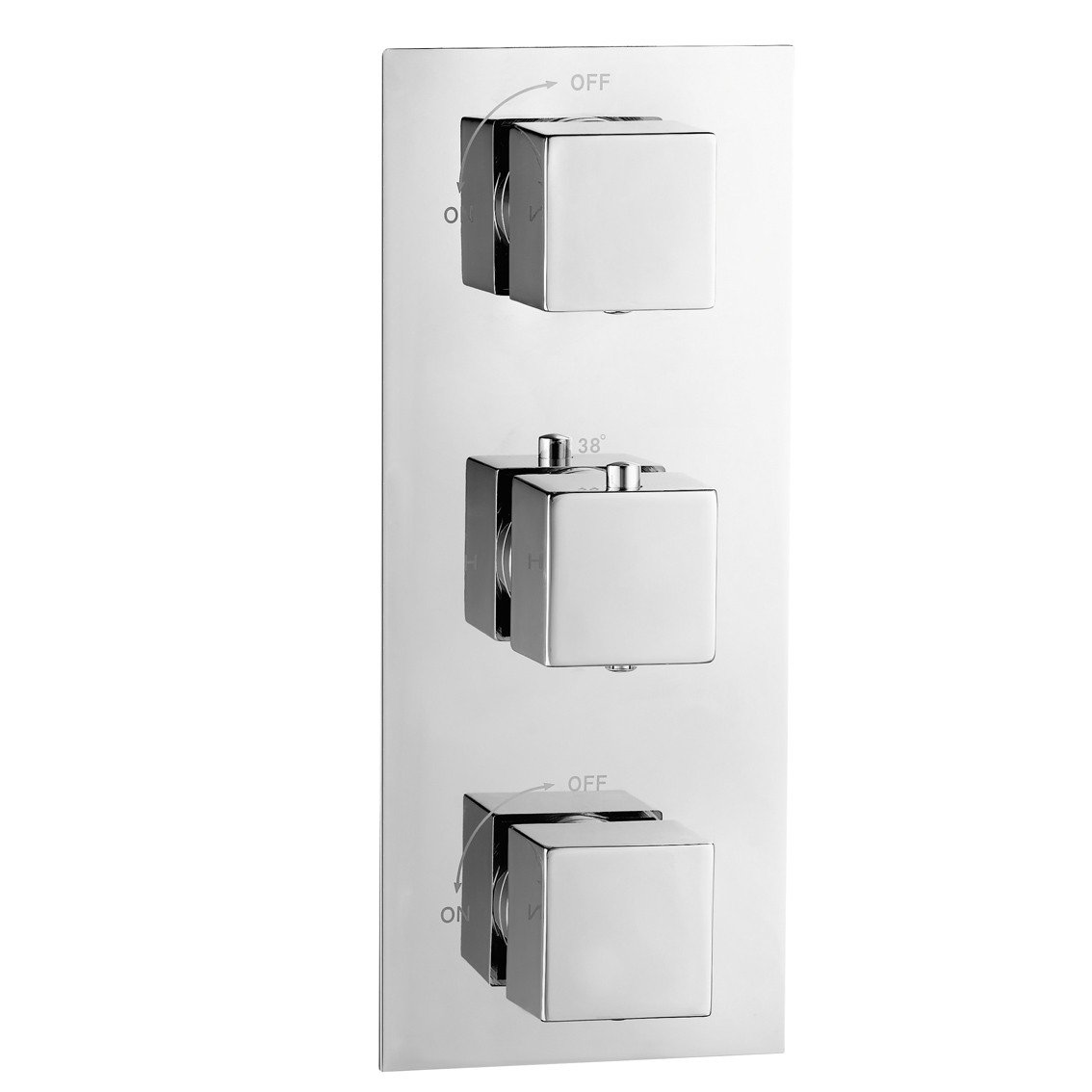 Modern Thermostatic Mixer Shower Valve 2 Way Diverter Square Chrome Bathroom  iBath       Customer reviews and more information