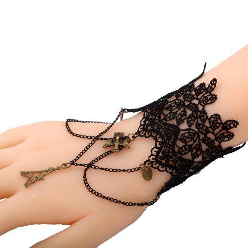 Yazilind Spitze-Armband- Ring -Schwarz-Spitze Armband Kette handgefertigte Schmuck für Frauen