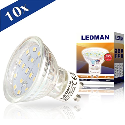 10x GU10 LED Lampe 3,5 W, 120 Grad Abstrahlwinkel, 300 lm, 230 V, 15 SMDs Strahler, warmweiß G10-SMD120Wx10
