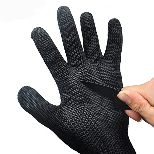 KMBEST Cut Resistant Gloves Stainless Steel Wire Mesh Level 5 Protection Pack of 1 Pair (One Size, Black) (Stainless Steel Cutting Tools compare prices)