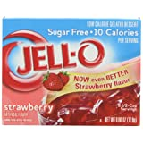 JELL-O Kraft Sugar-Free Gelatin Dessert, Strawberry, 0.60 Ounce (Pack of 24)