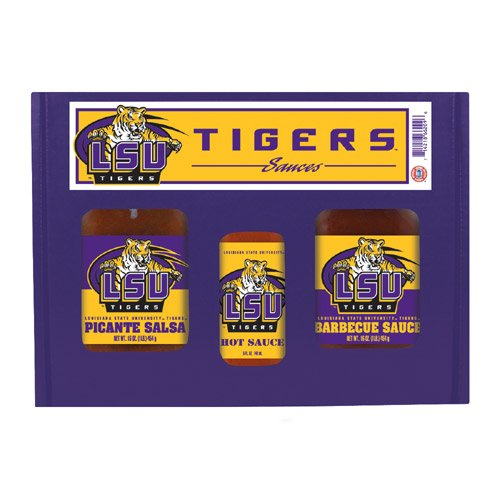 Lsu Tigers Ncaa Tailgate Kit (5Oz Hot Sauce, 16Oz BBQ Sauce, 16Oz Picante Salsa)
