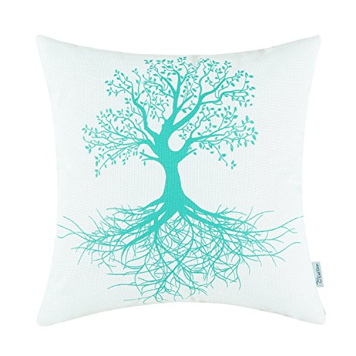 Euphoria CaliTime Home Decor Pillow Covers Natural Tree and Roots Print Turquoise Color 18 X 18 Inches