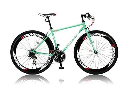 カノーバー クロスバイク 700C シマノ21段変速 CAC-025(NYMPH) グリーン ディープリム グリップシフト LEDライト標準装備