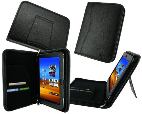 rooCASE Executive Portfolio (Black) Leather Case Cover with Landscape / Portrait View for Samsung Galaxy Tab 8.9 GT-P7300 GT-P7310
