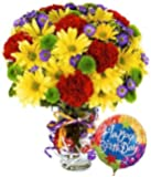Flowers - Best Wishes Bouquet with Birthday Balloon