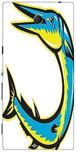 Snoogg Needlefish Jumping Retro Woodcut Style Designer Protective Back Case C...