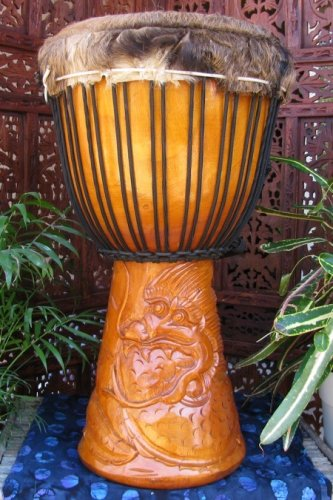 Deep-Carved Dragon Djembe-23