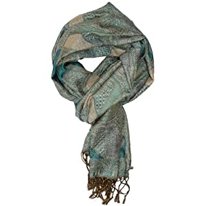 LibbySue-Silk Blend Paisley Teardrop Tapestry Pashmina in Teal, Gray