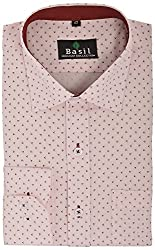 Basil Men's Formal Shirt (BA360PRC24FSF, Pink, 42)