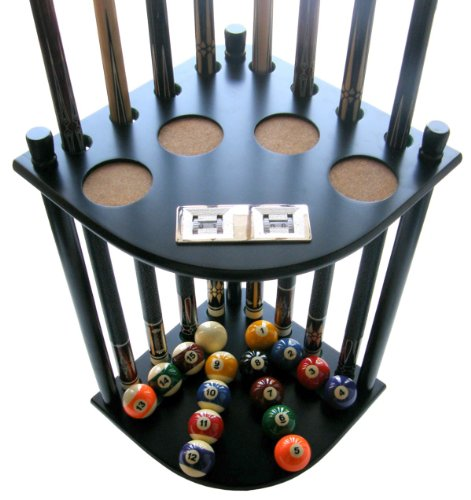 Iszy Billiards 8 Cue Stick Pool Table Ball Floor Rack with Scorer Black Finish