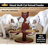 Pet Store Wood Multi Cat Raised Feeder with 3 Metal Bowls