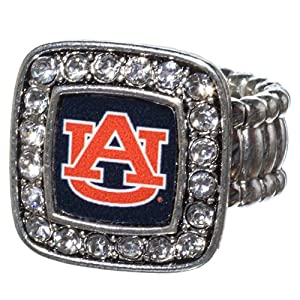 Auburn Tigers Silver Tone Stretch Ring Square Shape Accented with Crystals. by Judson