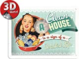 Say it 50's 26139 'A Clean House is a Sign of a Wasted Life' 50s Pin-Up Metal Picture 20 x 15 cm