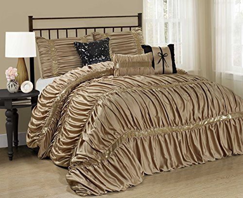 7 Piece CLARAITA Chic Ruched Pleated Comforter Set-Queen King Cal.King Size (Cal.King, Gold) Calking