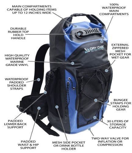 Dry Case DryCASE Waterproof Backpack for Laptops, Black/Blue (BP-35) at Sears.com