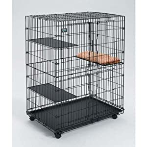 Mid-West Metal Cat Playpen with 3 Shelves And Bed, 35.75 Inch L X 23.5 Inch W X 51 Inch H
