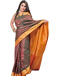 Exotic India Metallic-Colored Saree From Bangalore With Woven Leaves - Metallic