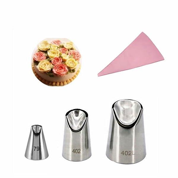 GOOTRADES 3 Pcs-Set Russian Icing Piping Nozzle Tips (No.79,402,402L) with Free Pastry Bag (Color: Silver, Tamaño: Medium)