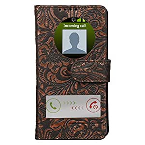 Dsas Geniune leather Flip cover with screen Display Cut Outs designed for One Plus One