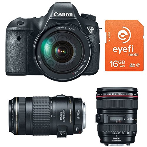 Canon EOS 6D 20.2 MP CMOS Digital SLR Camera Bundled with 3.0-Inch LCD and EF 24-105mm IS USM Lens Kit + EF 70-300mm f/4-5.6 IS USM Lens with Eyefi Mobi 16GB Class 10 Wi-Fi SDHC Card