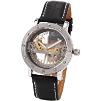 AMPM24 Mens Luxury Steampunk Analog Black Leather Automatic Mechanical Skeleton Watch PMW150
