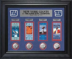 New York Giants - Super Bowl 46 XLVI - Tickets - Coins - Framed Photo Picture by Laminated Visuals